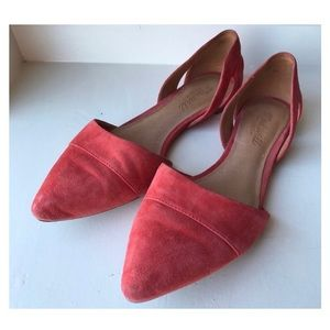 Madewell coral pink-orange D'Orsay flats size 8